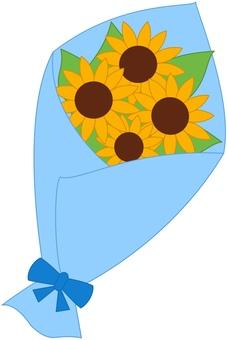 向日葵花束藍色