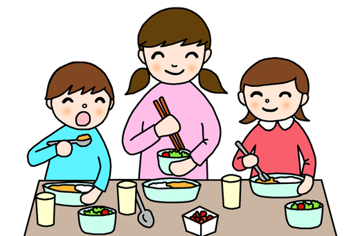 Meal children three people