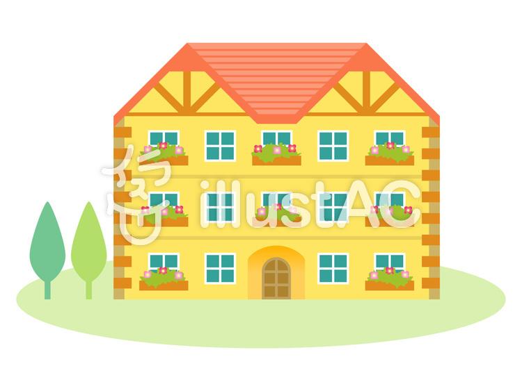 集合住宅アパートピンクの屋根イラスト No 397766無料