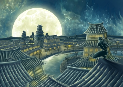 Townscape of tile roof and the moonlit night sky