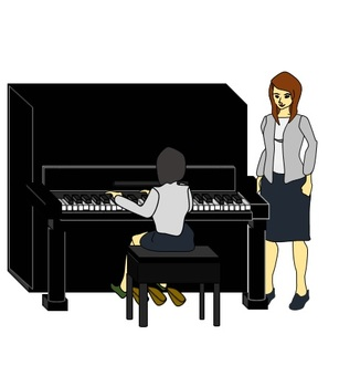 Piano lecturer and student