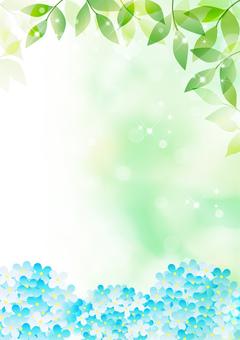 Fresh green and hydrangea _ vertical type background