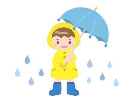 男の子_雨