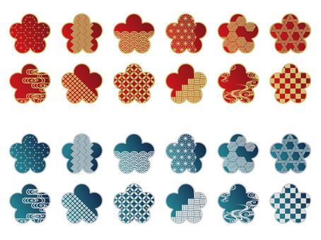 Japanese pattern material - plum