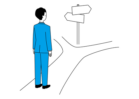 Simple office worker-standing at the crossroads