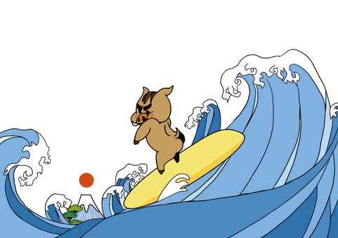 Wild boar surfing