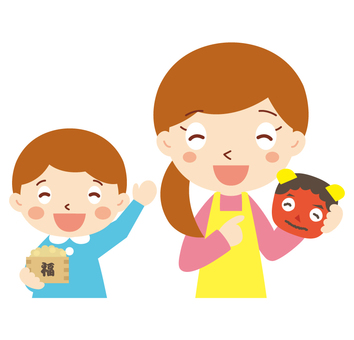 Teacher and Toddler _ Setsubun