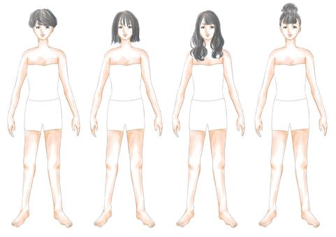 Fashion illustration black hair body 02