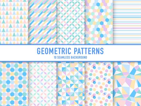 기하학적 패턴의 세트 (파스텔)