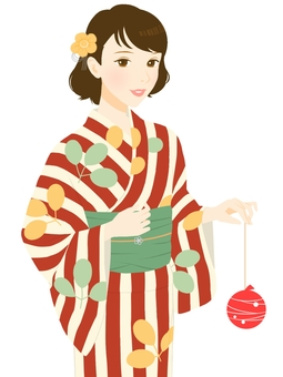 Yukata appearance Hagi pattern red type