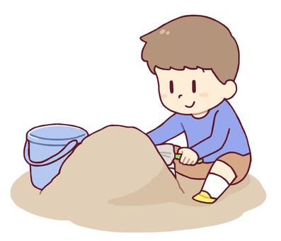 모래밭에서 노는 소년