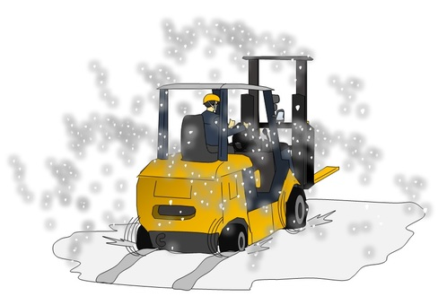 Fork lift stuck with snow