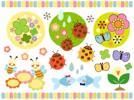 Material set of cute creatures and plants