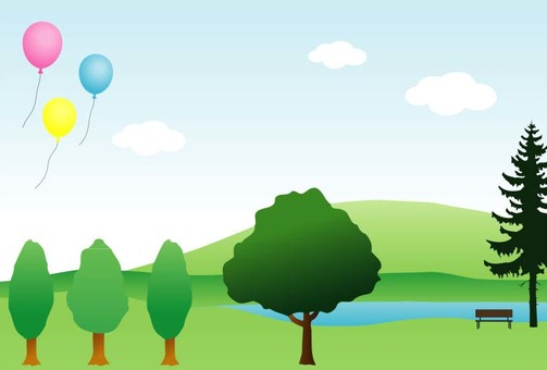 Lake and trees and balloons