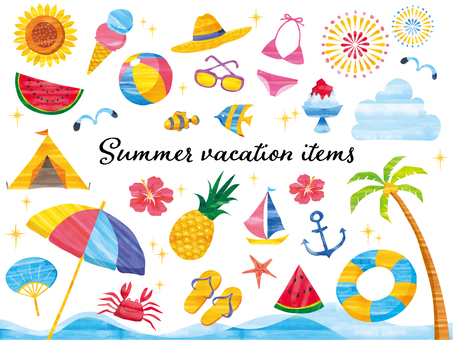 Set of watercolor style summer vacation items