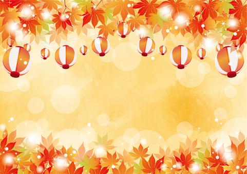 Autumn Festival Lanterns and Autumn Leaves 2