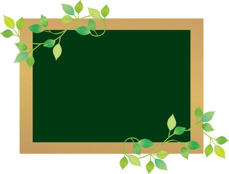 Plants and blackboard