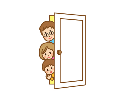 Family peeking through door