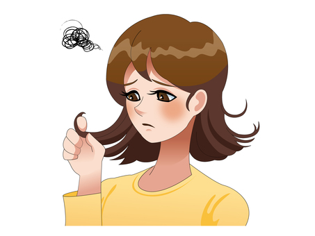 Illustration of a woman worried about hair