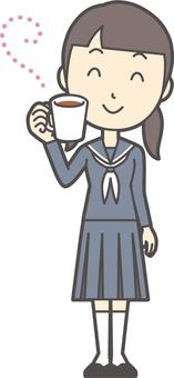 Junior high school sailor woman -168-whole body