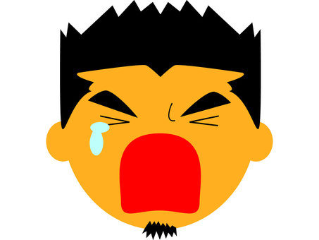Cut face icon male cry