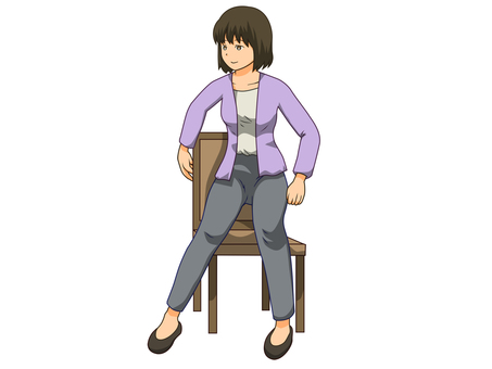 의자에 앉으려고하는 여성