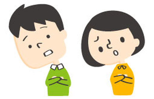 Kakuno-kun and Bobko-chan leaning their neck