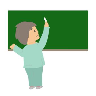 Schoolboy with blackboard