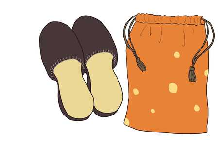 Slippers and drawstring bag