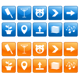 Icon set such as plants and musical notes