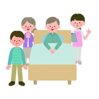 The grandfather and his family sitting on the bed