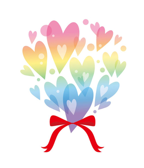 Heart bouquets: Rainbow