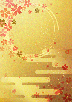 Ring of cherry tree_Gold leaf_Vertical type 2348