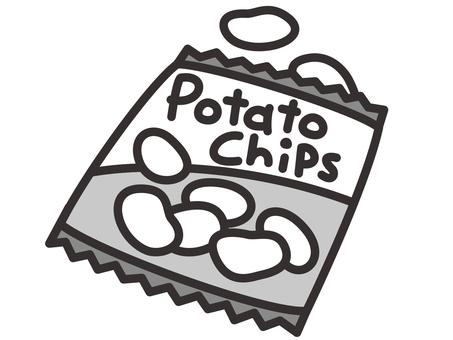 Potato chips black and white