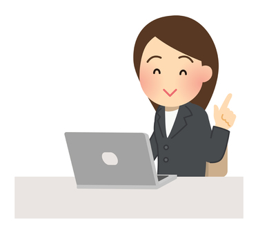 Illustration of a woman facing a laptop 【smile】