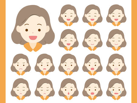 Middle-aged woman's facial expression set. 01