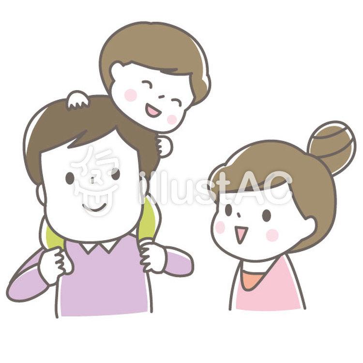 かわいい2世代家族親子男の子イラスト No 1196607無料イラスト