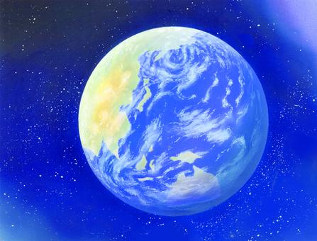 우주에 떠있는 지구