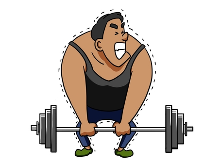 Illustration of a Man Raising a Barbell