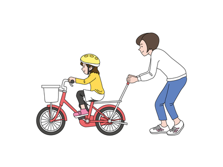 My daughter and mum who practice bicycles