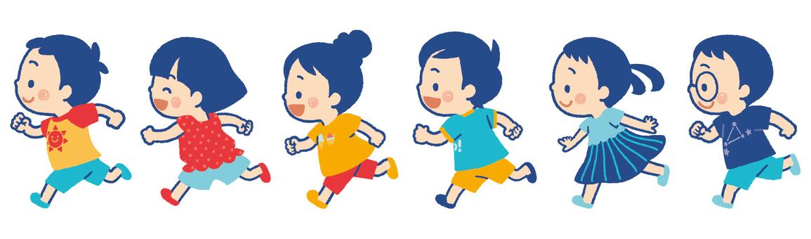 Children running in summer