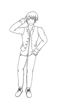 Black-haired male line drawing white background
