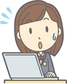 School girl high winter a-PC impatient - bust