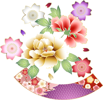 ai Japanese style gorgeous button and fan set 2