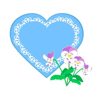 Pansy and blue heart decoration frame