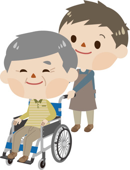 Care - a wheelchair male and a caregiver (male 2)