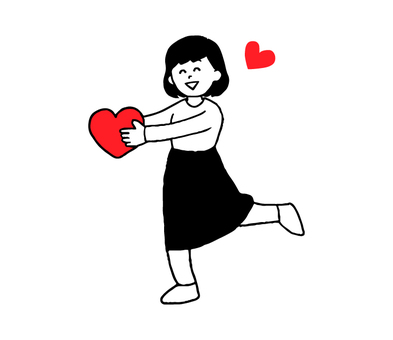 A woman who hands the heart (simple)