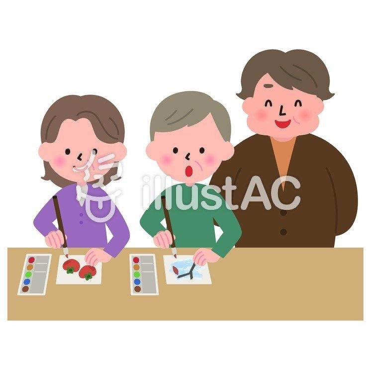 絵手紙教室のイラスト