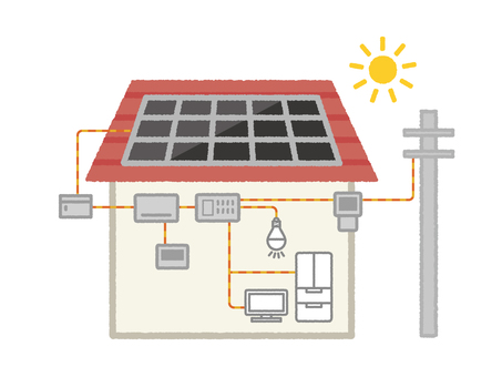 Illustration of photovoltaic power generation system for residential use