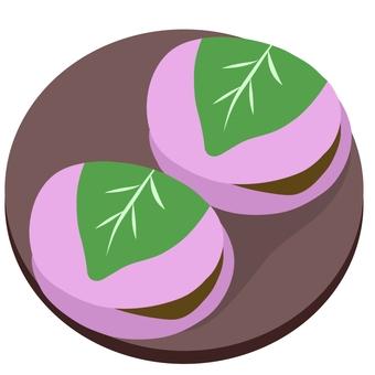 Sakura-mochi on a plate